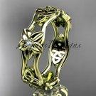 14kt yellow gold diamond celtic trinity knot wedding band, flower engagement ring CT7153B