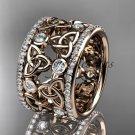 14kt rose gold diamond celtic trinity knot wedding band, bridal ring CT7232B