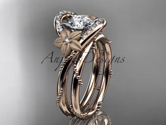 14kt rose gold diamond unique engagement set ADLR166S