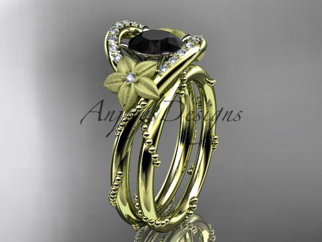 14kt yellow gold diamond unique engagement set with a Black Diamond center stone ADLR166S