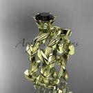 Unique 14kt yellow gold diamond floral engagement set with a Black Diamond center stone ADLR248S