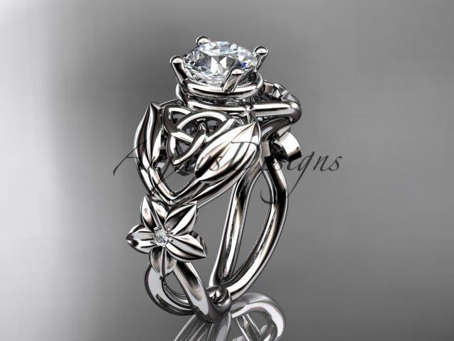 Platinum  diamond celtic trinity knot wedding ring, engagement ring CT7501