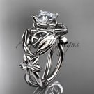 14kt white gold diamond celtic trinity knot engagement ring with a Moissanite center stone CT7501