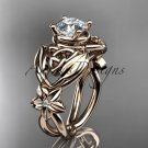 14kt rose gold diamond celtic trinity knot engagement ring with a Moissanite center stone CT7501