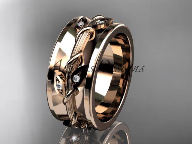 14kt rose gold diamond engagement ring, wedding band ADLR417B