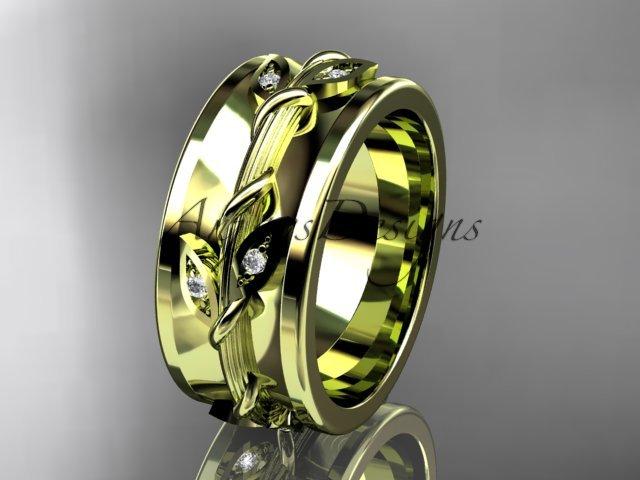 14kt yellow gold diamond engagement ring, wedding band ADLR417B