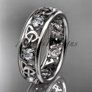 14kt white gold celtic trinity knot wedding band, engagement ring CT7160B