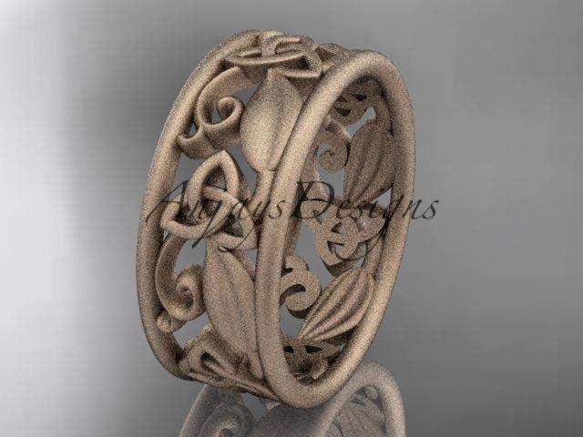 14k rose gold celtic trinity knot wedding band, matte finish wedding band, engagement ring CT7150G