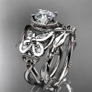 14kt white gold diamond celtic trinity knot wedding ring, butterfly engagement set CT7136S
