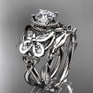 14kt white gold diamond celtic trinity knot engagement set with a Moissanite center stone CT7136S