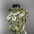 14k yellow gold diamond celtic trinity knot engagement set with a Black Diamond center stone CT7136S