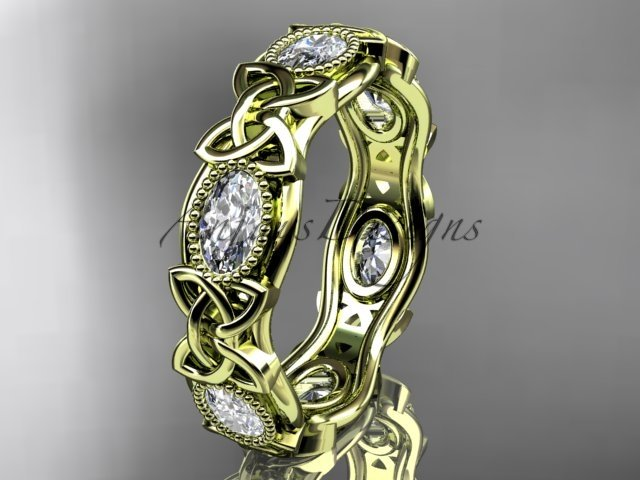 14kt yellow gold celtic trinity knot wedding band, engagement ring CT7152B