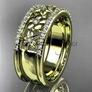 14kt yellow gold engagement ring, flower wedding band ADLR406B