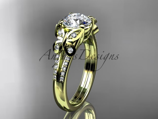 14kt yellow gold diamond engagement ring, butterfly ring, with a Moissanite center stone ADLR514