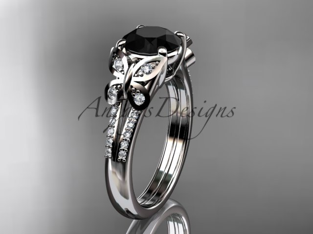 platinum  diamond engagement ring, wedding ring with a Black Diamond center stone ADLR514