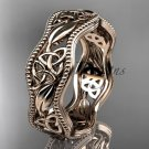 14kt rose gold celtic trinity knot wedding band, engagement ring CT7190G
