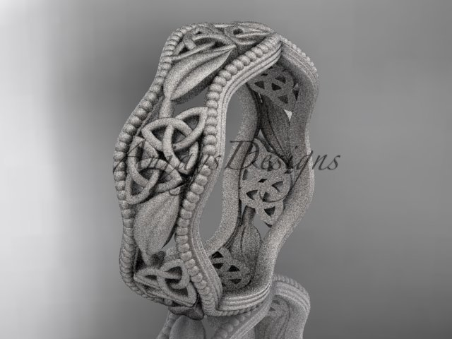 platinum  celtic trinity knot , matte finish wedding band, engagement ring CT7190G