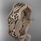 14kt rose gold celtic trinity knot wedding band, engagement ring CT7190GM