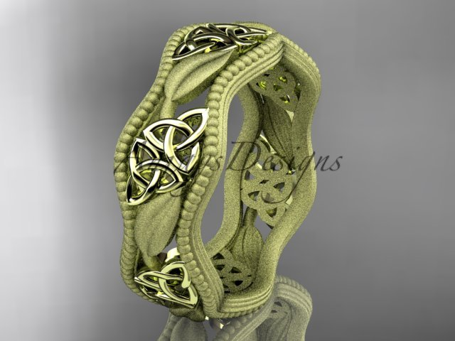 14kt yellow gold celtic trinity knot wedding band, engagement ring CT7190GM