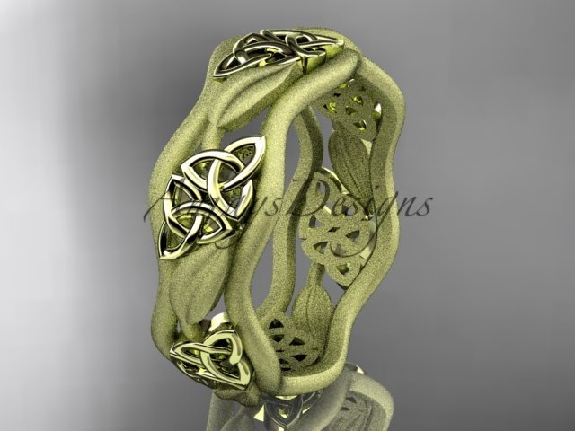 14kt yellow gold celtic trinity knot wedding band, engagement ring CT7506GM