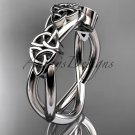 14kt white gold celtic trinity knot wedding band, engagement ring CT7505G