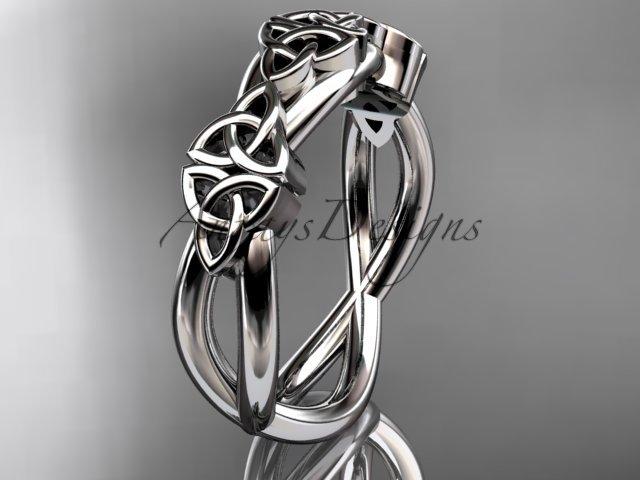 platinum  celtic trinity knot wedding band, engagement ring CT7505G