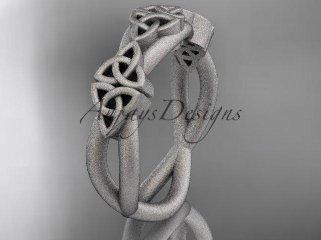 platinum  celtic trinity knot wedding band, matte finish wedding band, engagement ring CT7505G