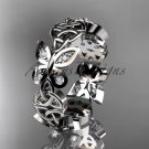 14kt white gold diamond celtic trinity knot butterfly wedding band, engagement ring CT7418B
