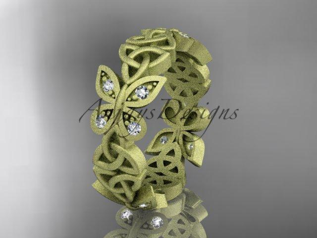 14kt yellow gold diamond celtic trinity knot matte finish wedding band, engagement ring CT7418B