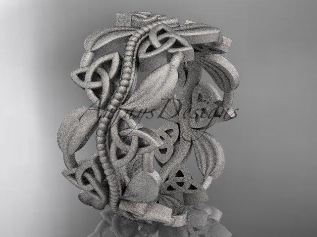 14kt white gold celtic trinity knot wedding band, matte finish wedding band, engagement ring CT7188G