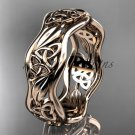 14kt rose gold celtic trinity knot wedding band, engagement ring CT7512G
