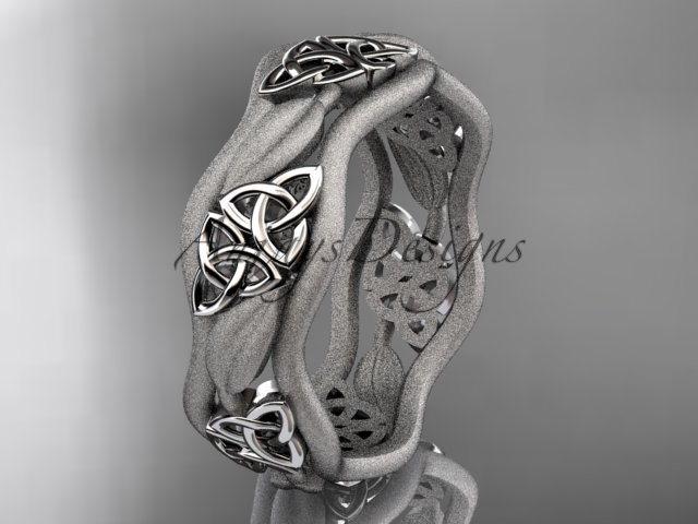 14kt white gold celtic trinity knot wedding band, engagement ring CT7512GM