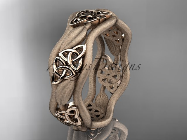 14kt rose gold celtic trinity knot wedding band, engagement ring CT7512GM
