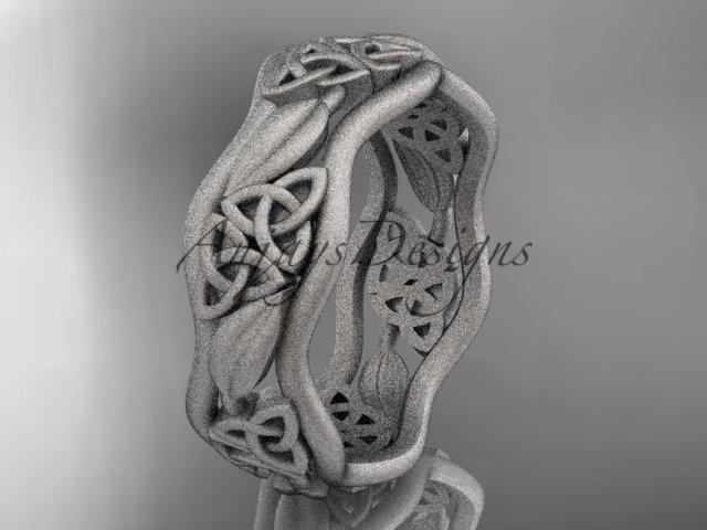 14kt white gold celtic trinity knot wedding band, matte finish wedding band, engagement ring CT7512G