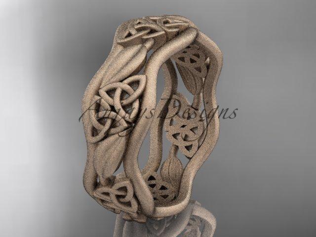 14kt rose gold celtic trinity knot wedding band, matte finish wedding band, engagement ring CT7512G
