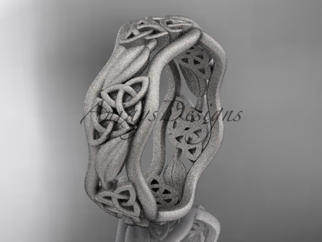 platinum  celtic trinity knot wedding band, matte finish wedding band, engagement ring CT7512G