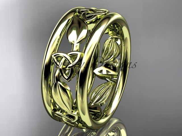 14kt yellow gold celtic trinity knot wedding band, engagement ring CT7233G