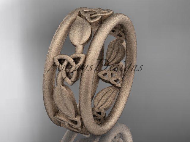 14kt rose gold celtic trinity knot wedding band, matte finish wedding band, engagement ring CT7233G