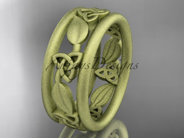 14k yellow gold celtic trinity knot wedding band, matte finish wedding band, engagement ring CT7233G