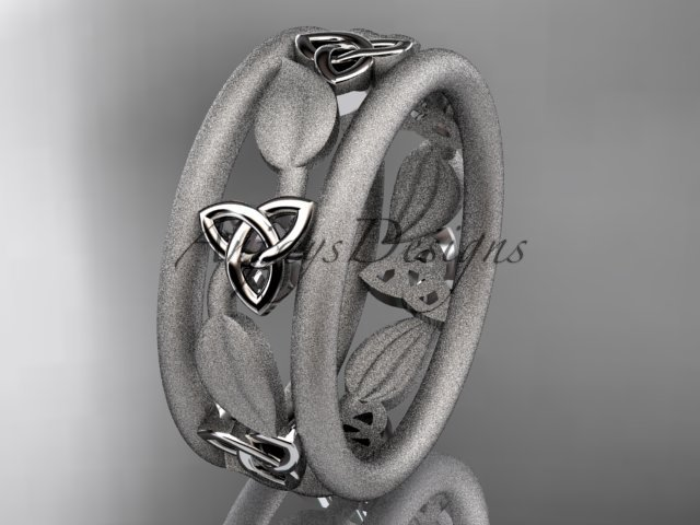 14kt white gold celtic trinity knot wedding band, engagement ring CT7233GM
