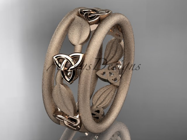 14kt rose gold celtic trinity knot wedding band, engagement ring CT7233GM