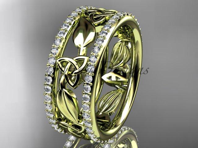 14kt yellow gold celtic trinity knot wedding band, diamond wedding band, engagement ring CT7233B