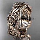 14kt rose gold celtic trinity knot wedding band, engagement ring CT7508G