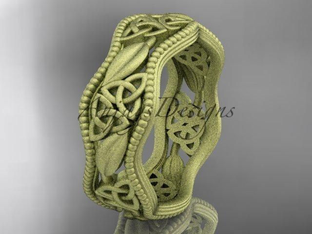 14k yellow gold celtic trinity knot wedding band, matte finish wedding band, engagement ring CT7508G