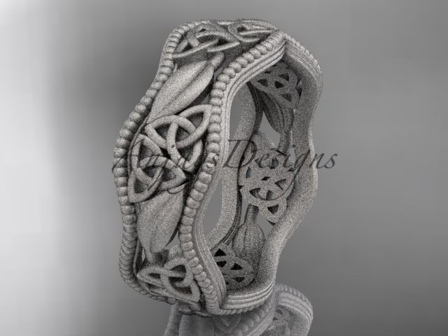 platinum  celtic trinity knot wedding band, matte finish wedding band, engagement ring CT7508G
