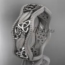 14kt white gold celtic trinity knot wedding band, engagement ring CT7508GM