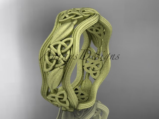 14k yellow gold celtic trinity knot wedding band, matte finish wedding band, engagement ring CT7510G