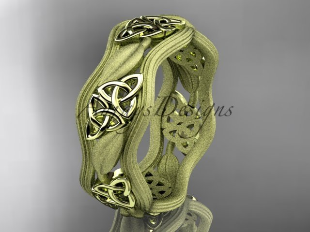 14kt yellow gold celtic trinity knot wedding band, engagement ring CT7510GM