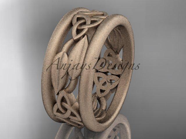 14kt rose  gold celtic trinity knot wedding band, matte finish wedding band, engagement ring CT7511G