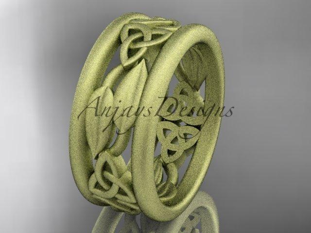 14k yellow gold celtic trinity knot wedding band, matte finish wedding band, engagement ring CT7511G